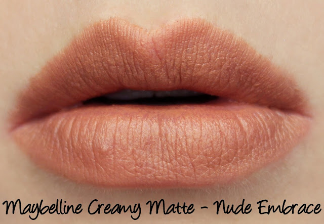 Maybelline Colorsensational Creamy Matte Lipstick - Nude Embrace Swatches & Review