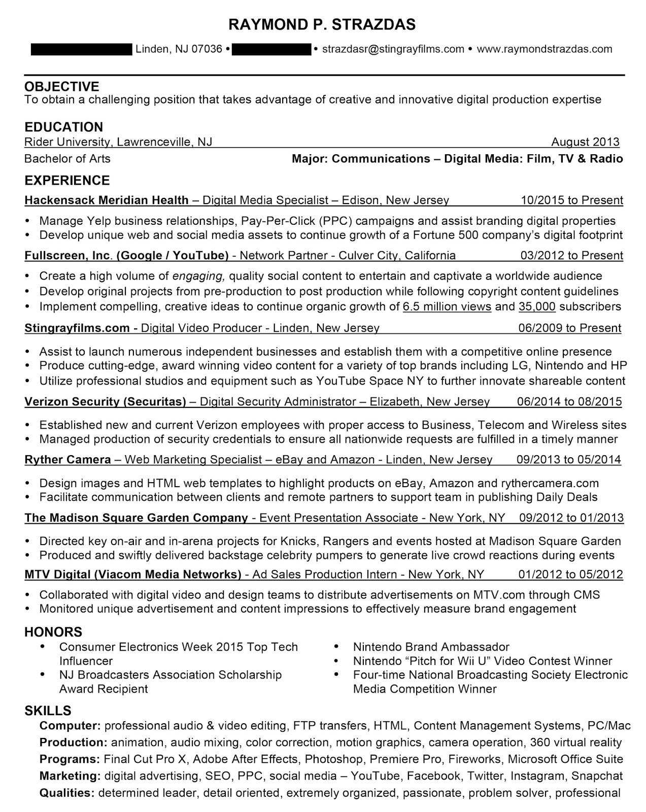 raymond strazdas resume February 2017
