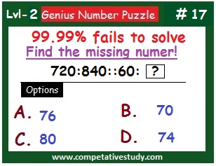 Number Puzzle: Find the missing number: 720 : 840 :: 60 : ?