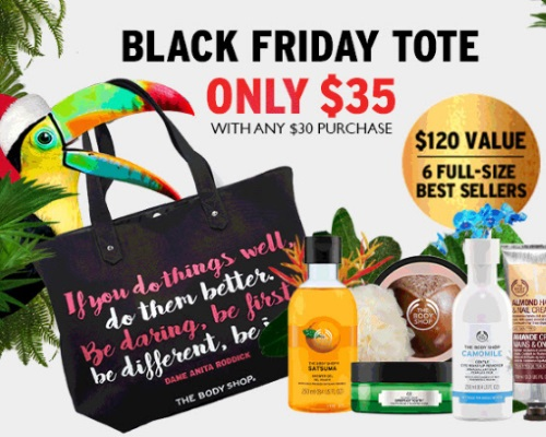 The Body Shop Black Friday Preview Tote $35 With $30 Purchase + 3 for $33