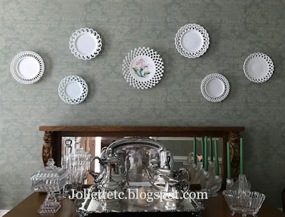 Milk Glass plate wall  https://jollettetc.blogspot.com