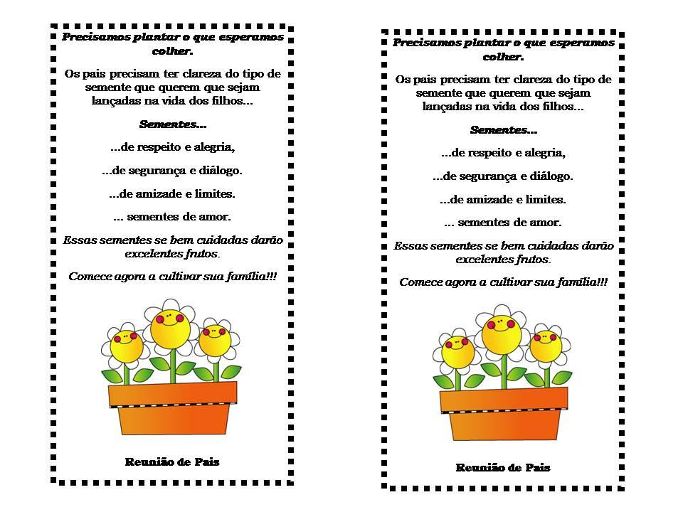 Spacinho: Cartões Para Lembrancinha De Reunião De Pais