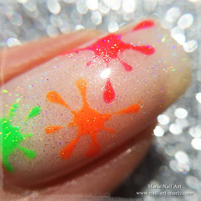 Nail Art Tâches Fluo Holographiques7