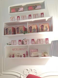 Shelves, bags, lip blams, perfume, body cream