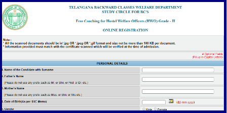 TS/Telangana BC Study Circle TS/Telangana BC Study Circle Free Coaching for TSPSC Hostel Welfare Officers Eligibility Criteria for TS BC Study Circle Free Coaching Telangana BC Welfare Dept BC Study Circle giving Free Coaching for the Candidates going attempt for Telangana Public Service Commission Recruitment Notifications Hostel Welfare Officers. They Have to Register Online at studycircle.cgg.gov.in/tsbcw/. Its Free Coaching for BC Candidates at Various Centres at District Headquarters with limited seats available. Onlne Application important dates Selection List Required documents and for many more things please go through this article ts-telangana-bc-study-circle-free-coaching-civil-tspsc-forest-fbo-fro-fso-vro-vra-trt-dsc-tet-trt-hwo-gurukula-recruitments-apply-online/2018/02/ts-telangana-bc-study-circle-free-coaching-civil-tspsc-forest-fbo-fro-fso-vro-vra-trt-dsc-tet-trt-hwo-gurukula-recruitments-apply-online.html