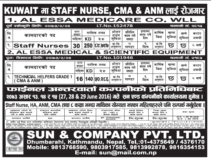Jobs in Kuwait for Nepali Staff Nurse, CMA & ANM. Salary Up to Rs 89,797