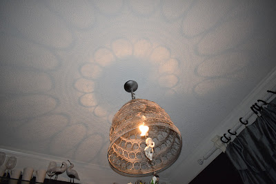 Crystal Chandelier makeover using crystals and oyster shells
