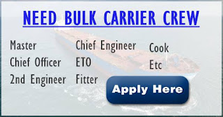 Recruitment seaman crew for bulk carrier vessel deployment Mid of January 2019.