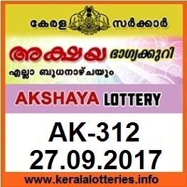 Kerala Lottery Result AKSHAYA (AK-312) on September 27, 2017