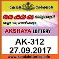 Kerala Lottery Result AKSHAYA (AK-312) on September 27, 2017
