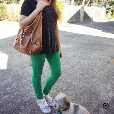 awayfromtheblue instagram | black tee green skinny jeans opshop finds thrifted outfit glitter shoes Balenciaga day bag