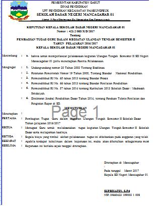 Contoh SK Panitia Kegiatan UTS  Format Microsoft Word