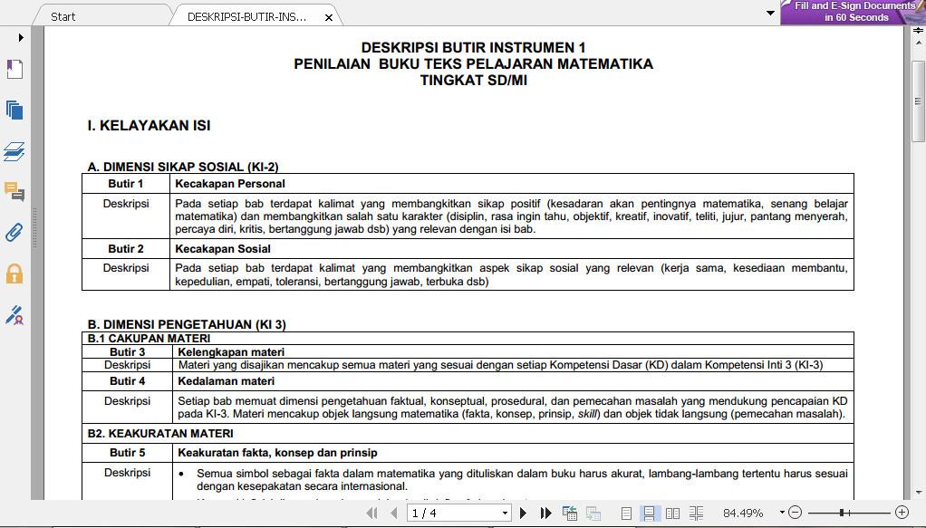 Download Deskripsi Butir Instrumen Penilaian Buku Teks Pelajaran Matematika Tingkat SD 2016 Format PDF