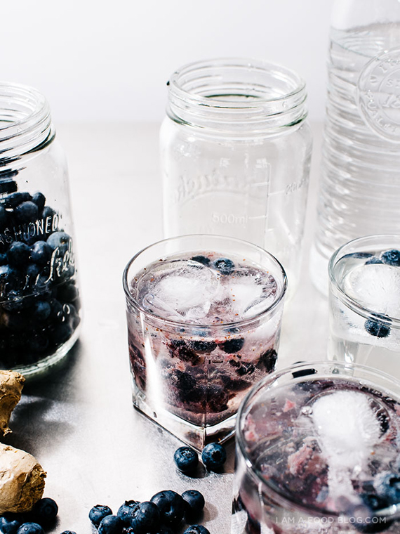 Homemade Ginger Ale Blueberry Spritzers recipe by I am a food blog
