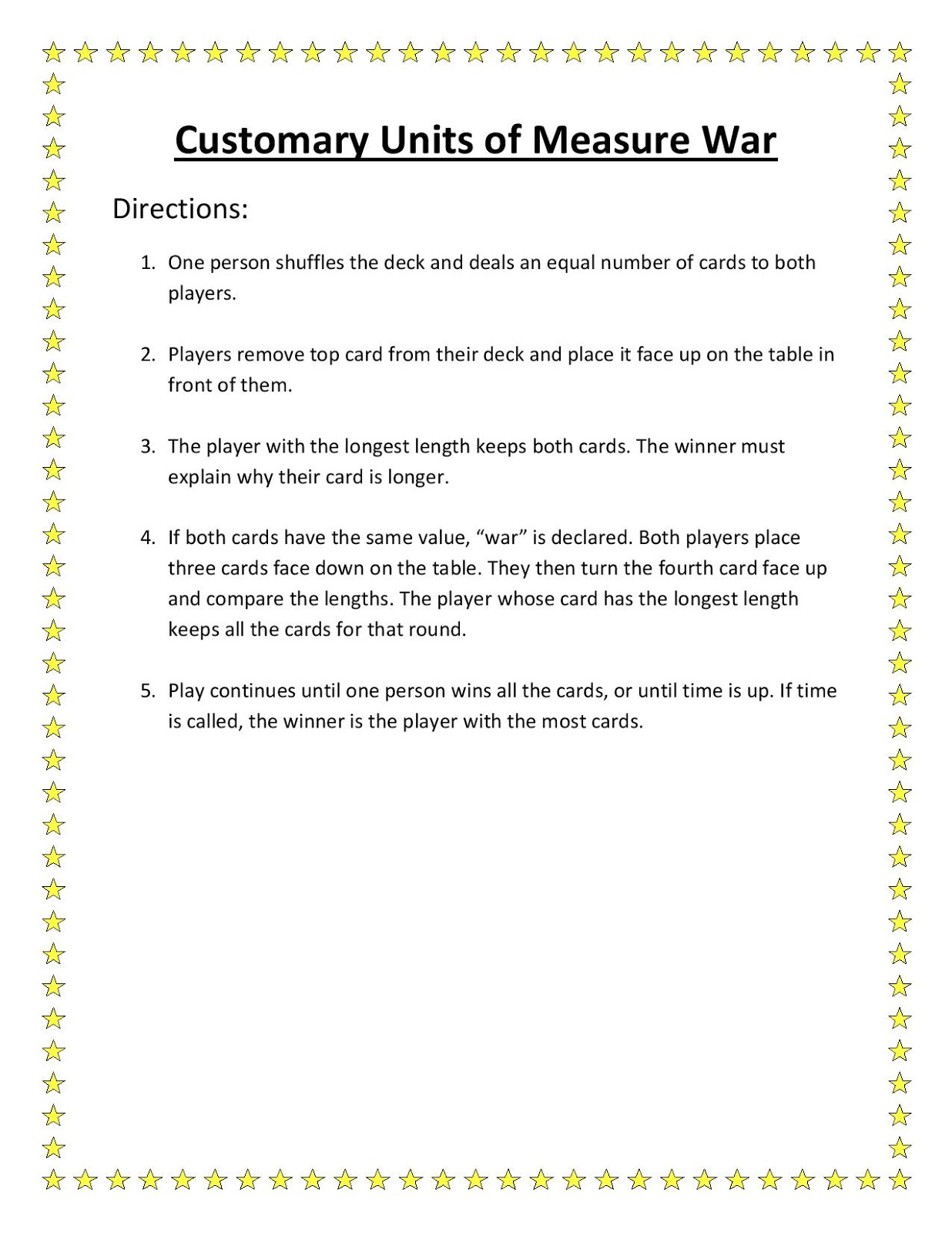 Hunter S Tales From Teaching Math Game Customary Units
