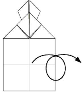 Bước 11: Lật mặt sau và xoay tờ giấy xuống dưới