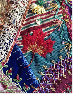 Maple leaf on crazy quilt stocking image © W. Russell, patchworksquare.com