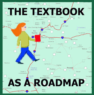 a cartoon of a teacher carrying a textbook as she walks on the road (Shown on a map) of teaching. This symbolizes that the textbook helps guide the way.