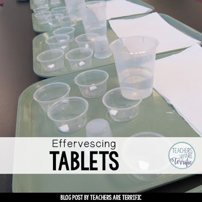 STEM Challenge paired with the Scientific Method! Perfection! Elementary students experiment with effervescing tablets and then use the results to design their own experiment. They use timers and data tables, safety goggles and fizzing, bubbly liquid and learn so much! Take a look at this blog post for the details! #STEM #scientificmethod