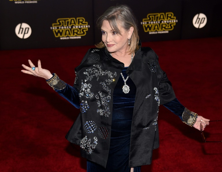 US actress Carrie Fisher attends the premiere of Walt Disney Pictures and Lucasfilm's 'Star Wars: The Force Awakens', at the Dolby Theatre in Hollywood, California, on December 14, 2016