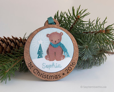 Personalized Baby's First Christmas Holiday Ornament Woodland Bear design