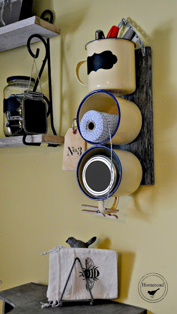 Enamel Mug Organizer hanging on wall in office