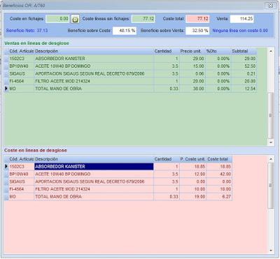 Imágen del análisis del beneficio de una orden de reparación del programa de gestión y facturación para talleres