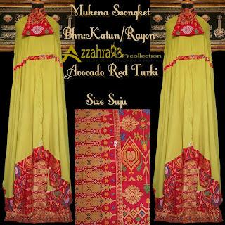 Gambar Mukena Songket Prada Bali Paling Anyar Avocado red Turki