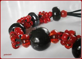 naszyjnik, porcelana i szkło, czerwony i czarny, czerwona porzeczka