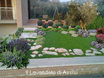 Progetti giardini privati gratis on line con piante aromatiche salvie ornamentali lavande - Progettazione esterni casa ...