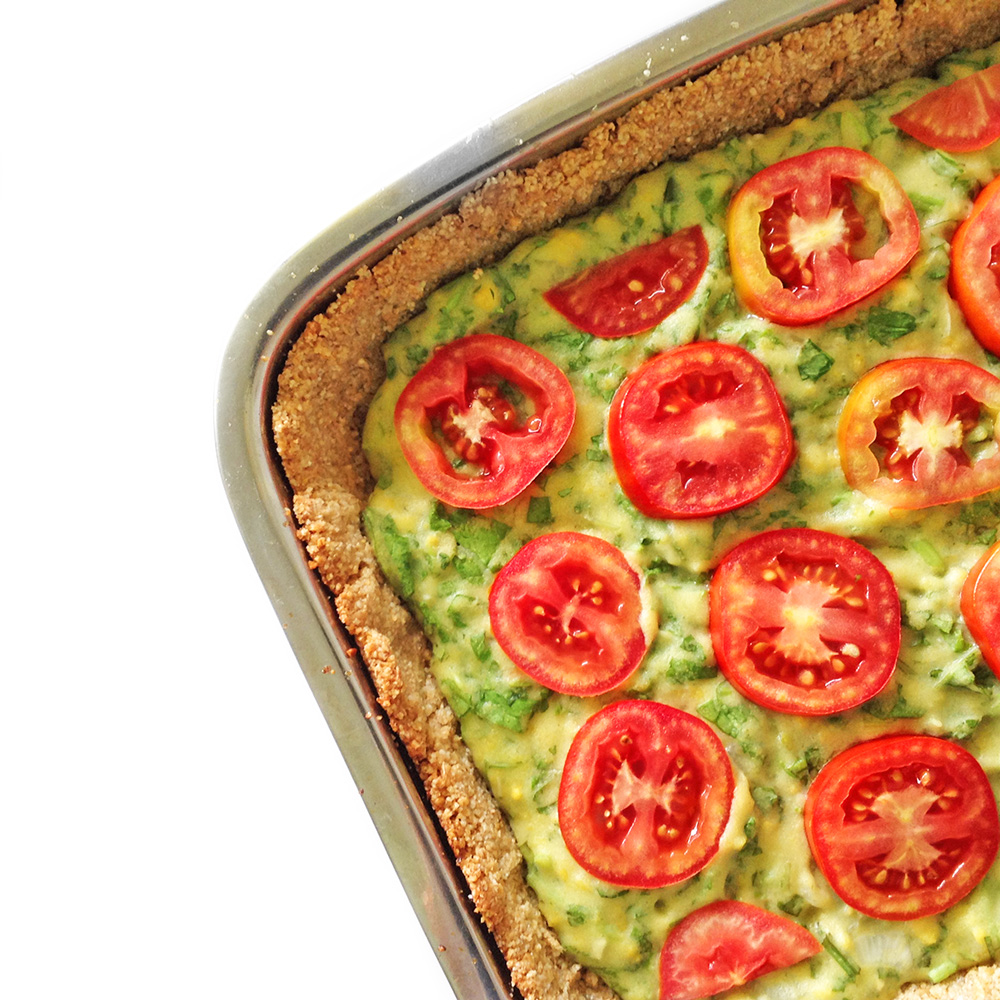quiche, cheese, vegan, vegetarian, pie, tart, crust, pastry, baked, spinach, tomatoes, summer