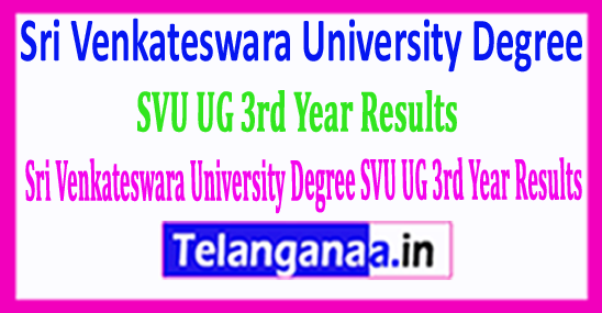 Sri Venkateswara University Degree SVU UG 3rd Year 2018 Results