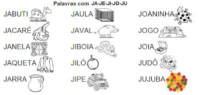 Lista de palavras e desenhos da família silábica JA-JE-JI-JO-JU