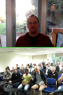 Snapshot from Skype recording, showing Jon Skeet in top, audience in bottom