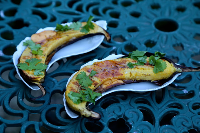BBQ plantain with chilli butter, lime and coriander
