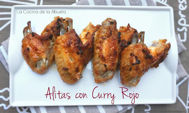 Alitas pollo curry rojo horno barbacoa presentacion plato