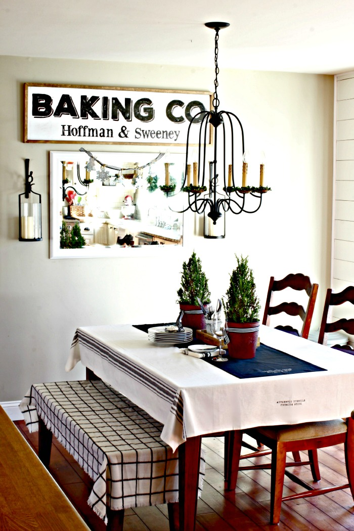 DIY Baking Co. signing dining room with World Imports Brondy chandelier - www.goldenboysandme.com