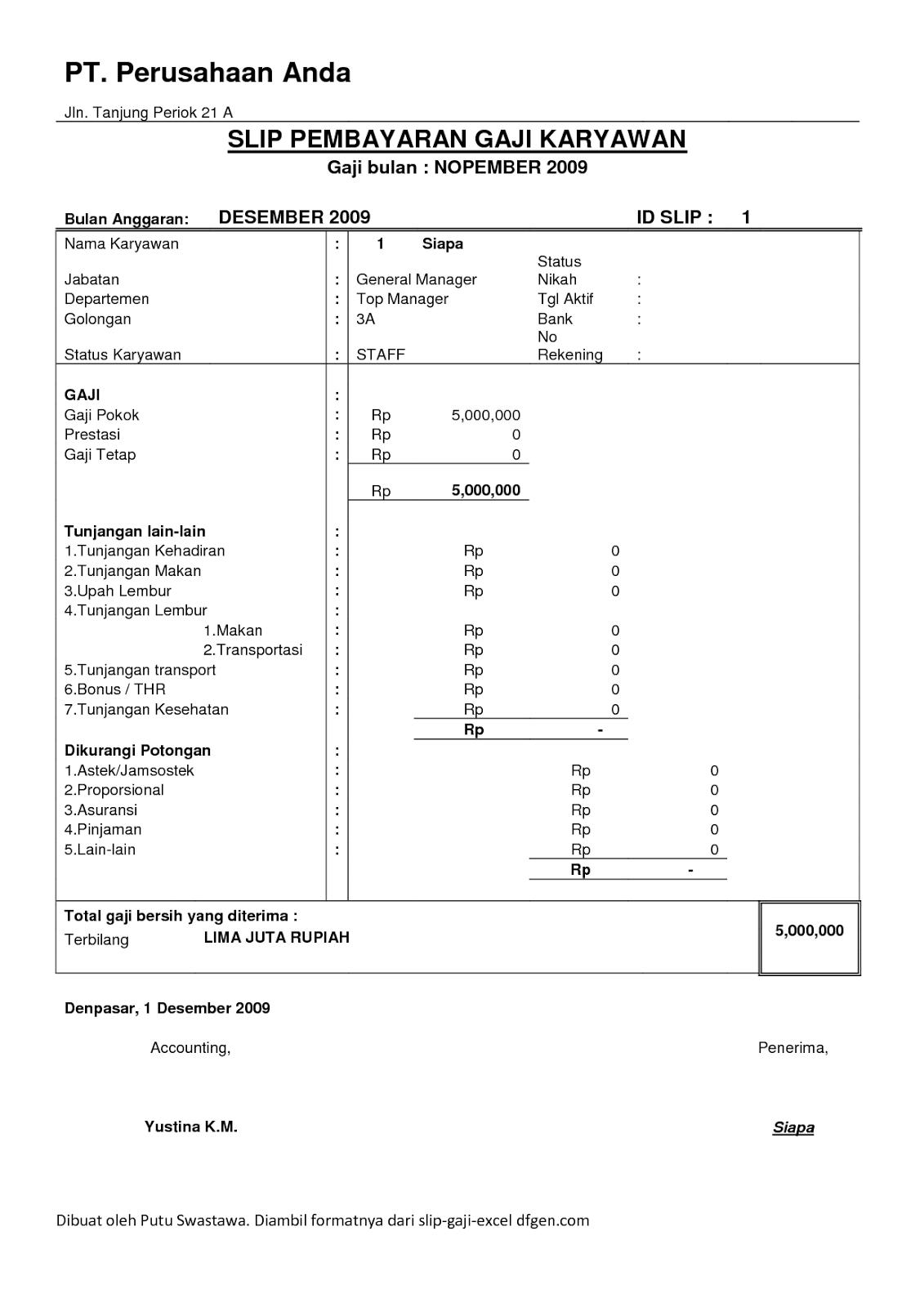 contoh slip gaji yang lengkap contoh now