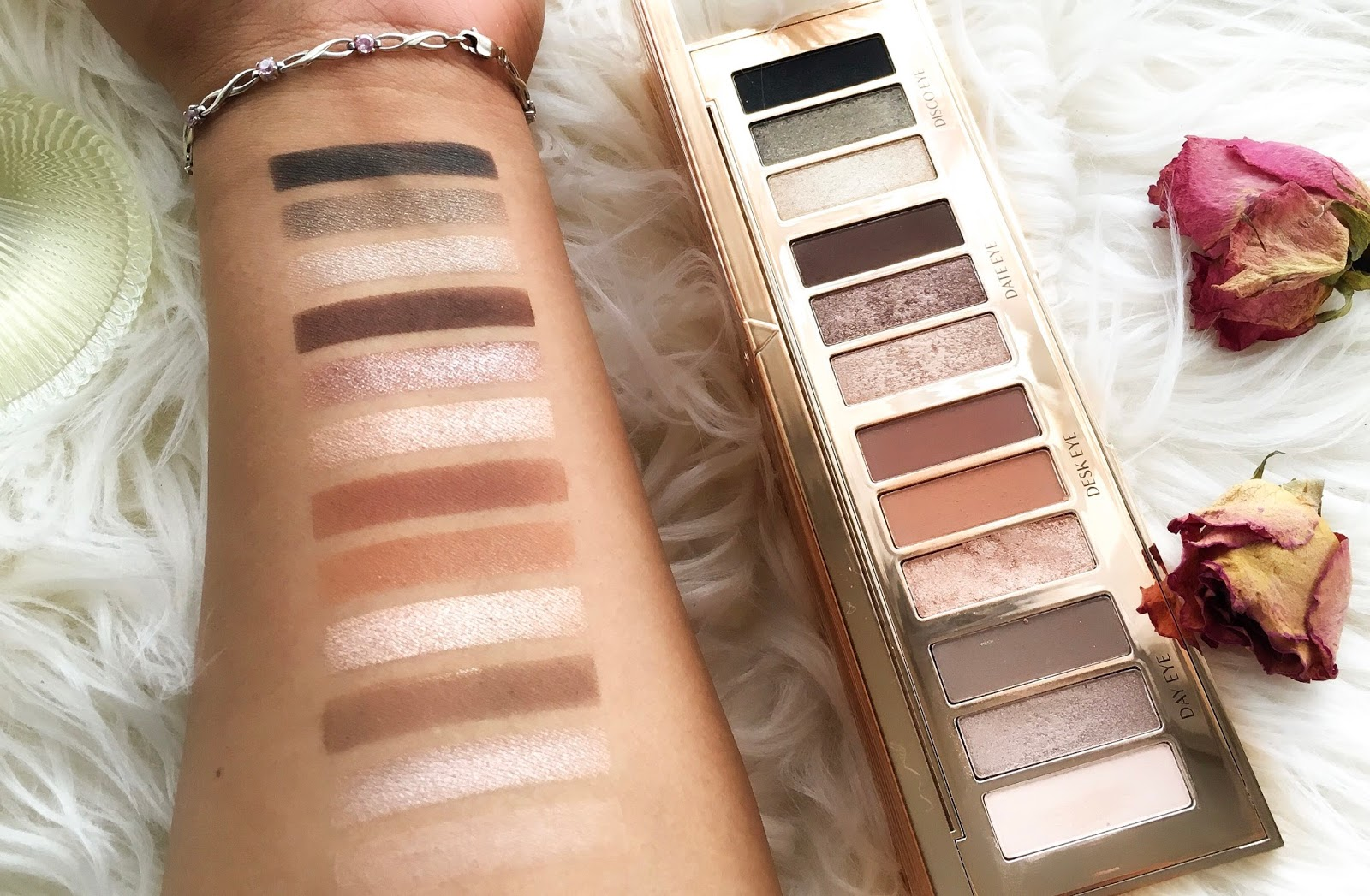swatch perfect uk review, makeup stencils, makeup swatches, best stencils for makeup swatches, charlotte tilbury instant eye palette medium nc40 swatches