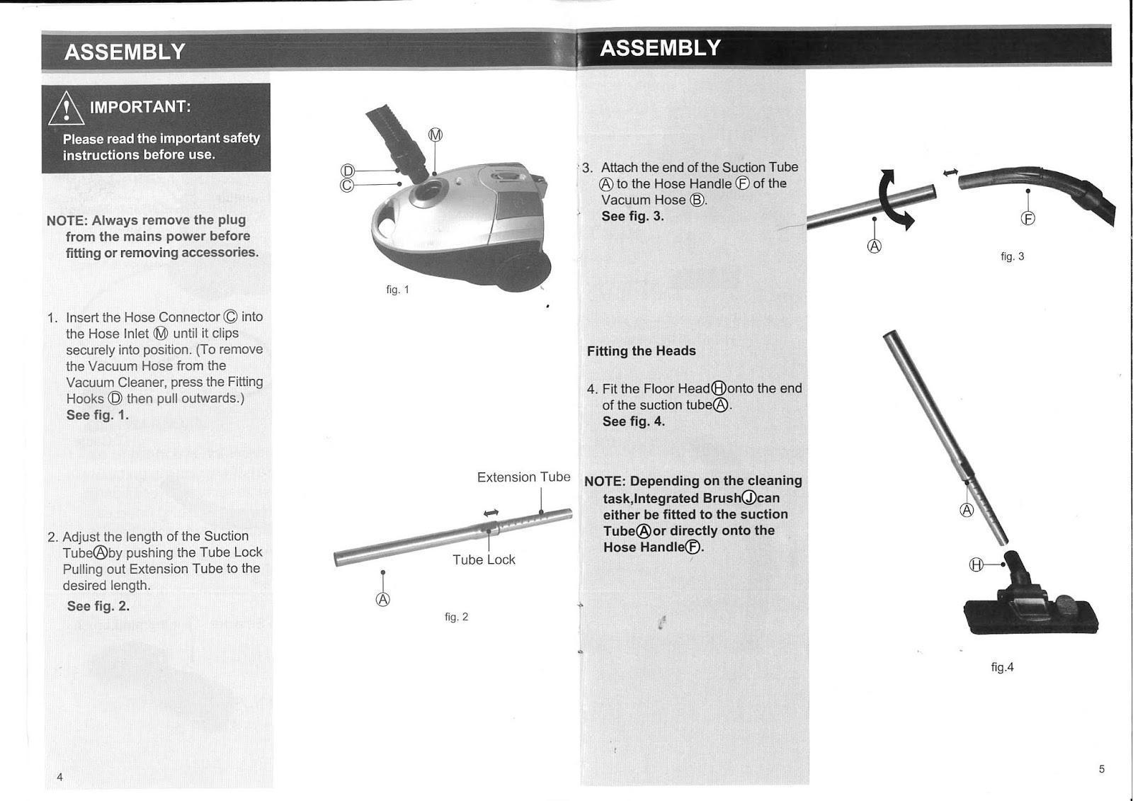 ProAction (Argos) CS869J Vacuum Cleaner Instruction Manual