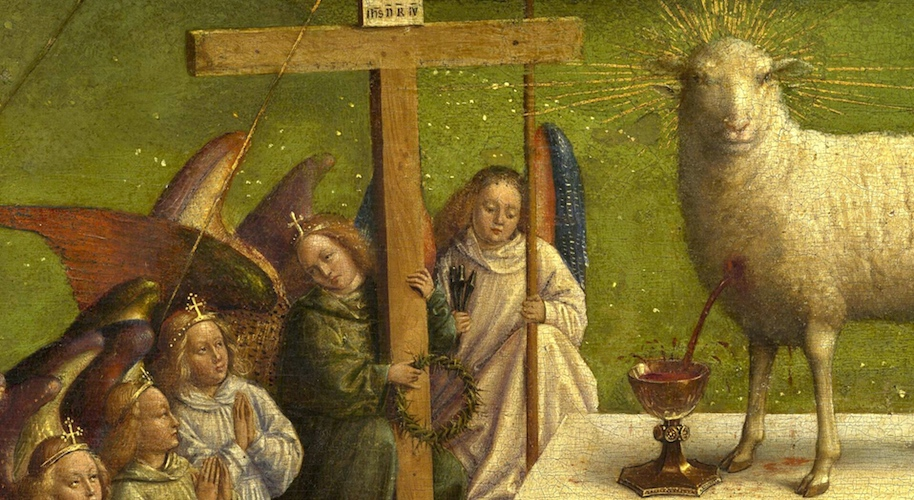 Image result for a Lamb, looking as if it had been slain, standing at the center of the throne fra angelico