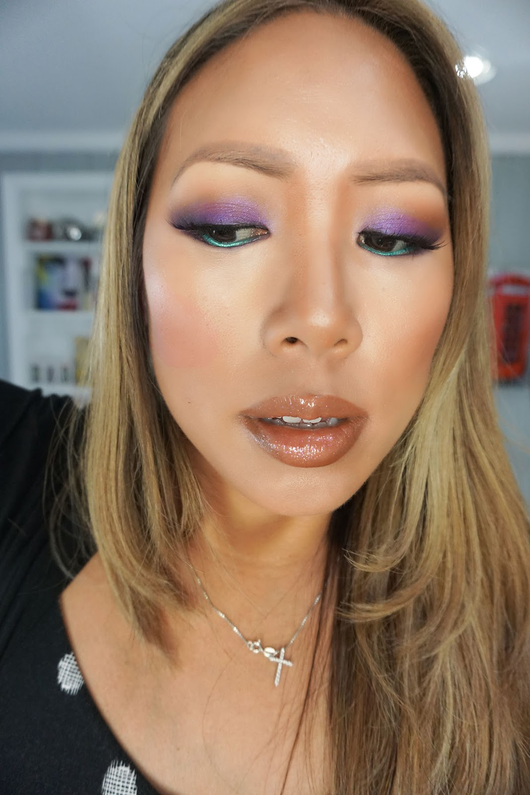 Purple Smokey Eyes With A Pop Of Teal Makeup By Renren