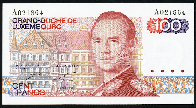 Luxembourg banknotes 100 Francs banknote Grand Duke Jean