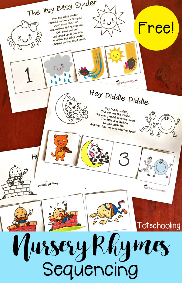 FREE printable set of Nursery Rhymes sequence puzzles, including Humpty Dumpty, Hey Diddle Diddle, Itsy Bitsy Spider, Baa Baa Black Sheep, Hickory Dickory Dock, Jack and Jill, and Three Blind Mice. Perfect for early literacy and reading comprehension for toddlers, preschool and kindergarten.