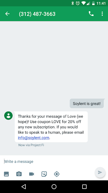 SMS text message response from Soylent