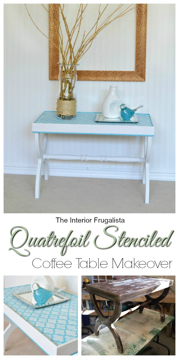 Quatrefoil Stenciled Coffee Table Makeover