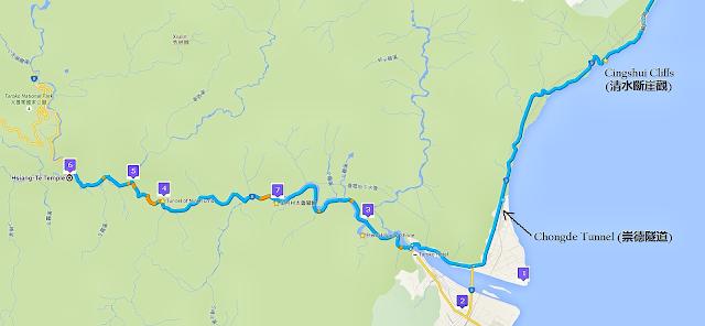 map of Taroko National Park, Taiwan