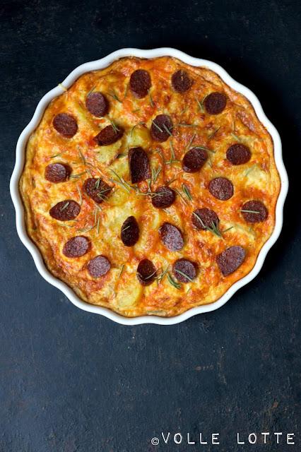 Chorizo, Chourico, Quiche, einfach, kochen, backen, Portugal, würzig, pikant, Kalieber