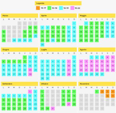 Calendario Parco Zoom Torino 2018