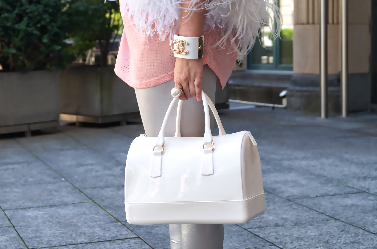 df9e3a3dea5bd top Zara, shoes Giuseppe Zanotti, handbag Furla, earrings H&M, bracelet  Chanel
